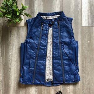 Blue Faux Leather Moto Vest / Size Large /…